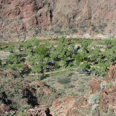 Phantom Ranch: A view down over the camp from Clear Creek Trail