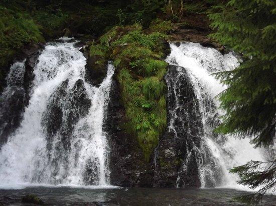 Alaska Travel Adventures: Waterfall behind the salmon bake