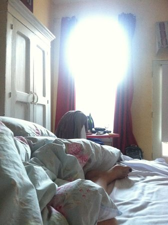 Metro Hotel & Cafe : Room from the bed - high ceilings, long drapes, nice morning.
