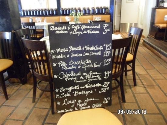 Le Safari : menu