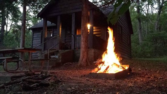 Meramec State Park Campground : Bonfire at cabin