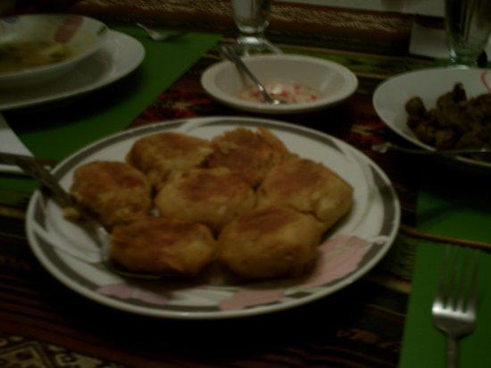 Chez Elena Guesthouse: Potato Patties, Part of $4US per person dinner.