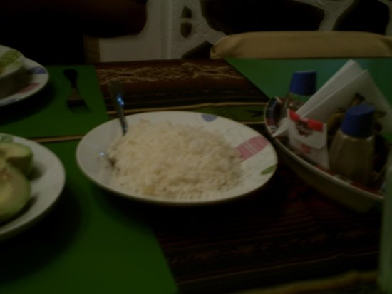 Chez Elena Guesthouse: Plate of Rice, Part of $4US per person dinner.