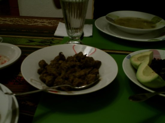 Chez Elena Guesthouse: Delicious Seasoned Cubed Beef, Part of $4US per person dinner.