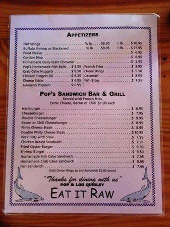 Pop's Raw Bar & Restaurant: menu back