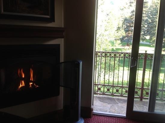 Tivoli Lodge: fireplace and patio