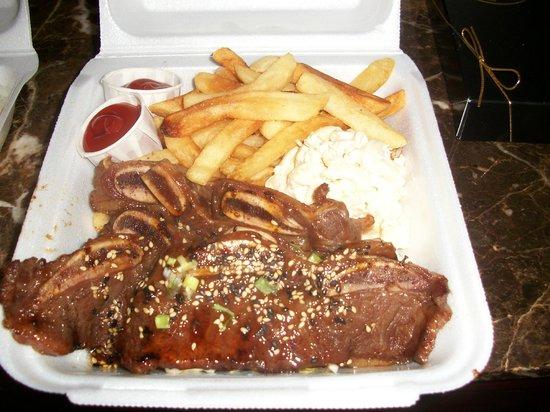 Ippy's Hawaiian Barbeque: Short ribs, fries and mac salad