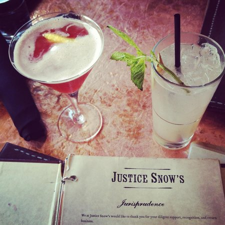 Justice Snow's Restaurant and Bar: King Over Waters and Maison Collins cocktails.