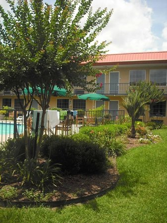 Days Inn Leesville: Three steps from the pool entrance.