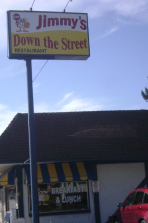 Jimmy's Down the Street: Look for this sign after driving through down town Coeur d' Alene