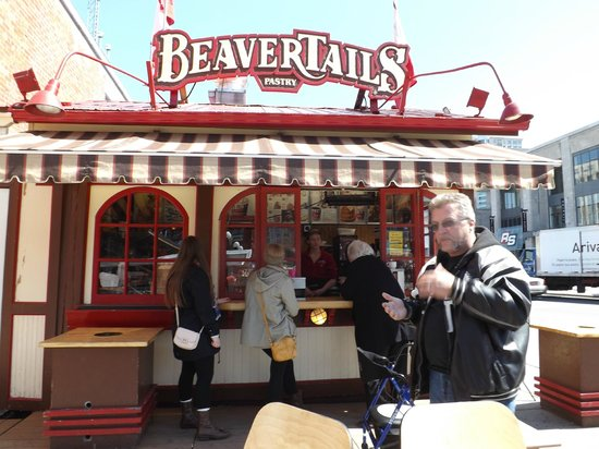 Beaver Tails Pastries : my hubby enjoying his beavertail