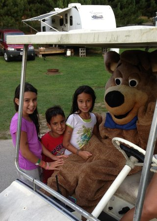 Yogi Bear's Jellystone Park - Ashland: Boo-boo driving around to greet the kids