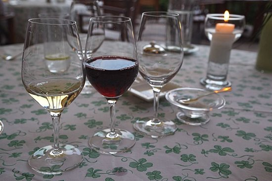 Château de Noirieux : A glass of different wine with each of the 4 courses.