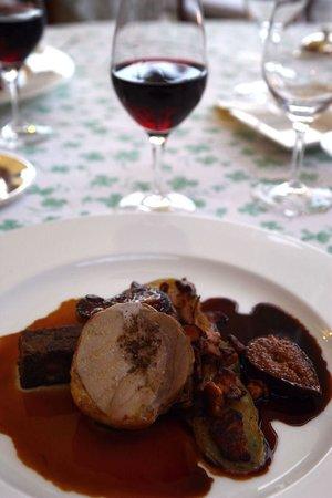 Château de Noirieux : Beautifully presented guinea fowl for my main course.