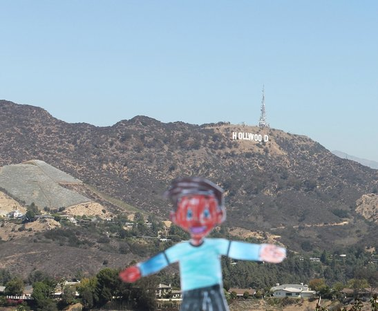 Amazing LA Tours: Flat Stanley in front of the Hollywood Sign