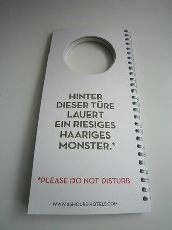 25hours Hotel Number One : Do not disturb sign