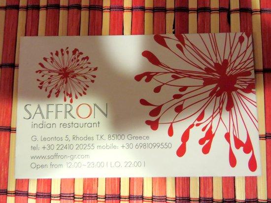 Saffron : biz card