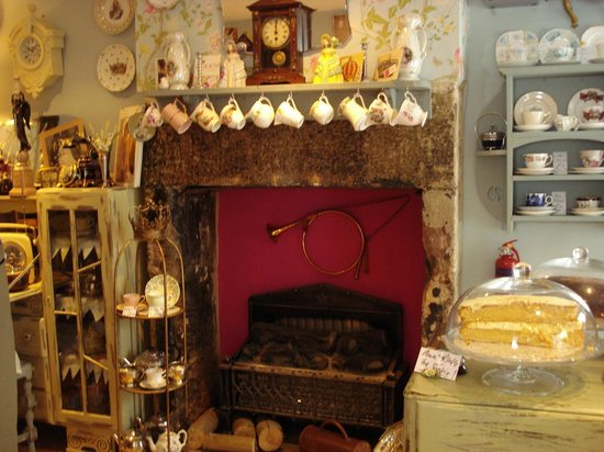 Biddys' Tearooms: Original fireplace and vintage setting