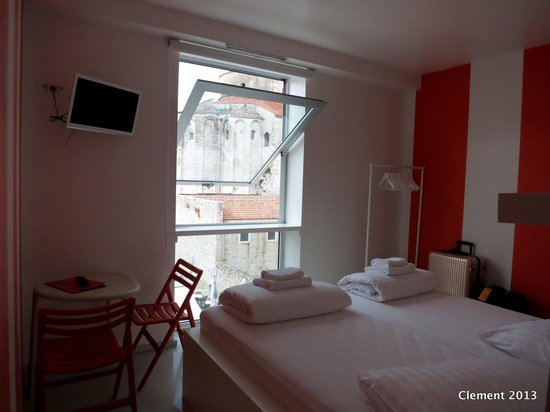 Private double room at Boutique Hostel Forum, with a view of St. Donat Church