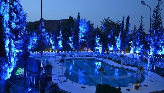 Lariya Resort: pool in blue color for theme party