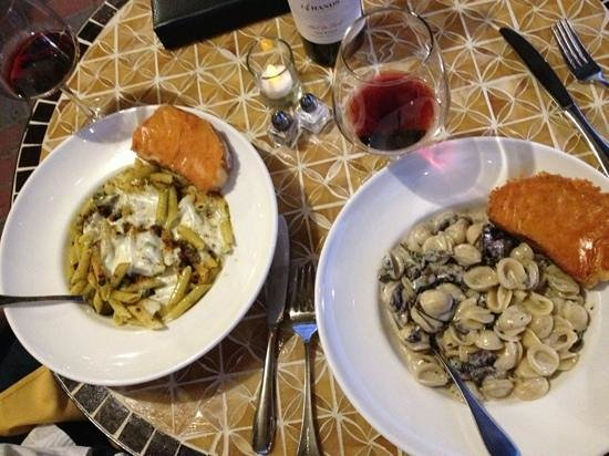 Prohibition Bistro: Pesto pasta on left, and truffle pasta on the right.