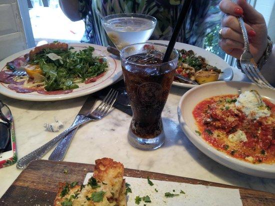 Vic & Angelo's: Eggplant Parmigiana, grilled calamari, and garlic bread