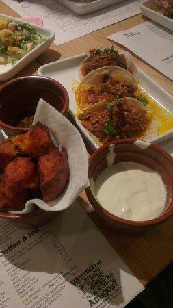 Wahaca Covent Garden: Sweet potato side & soft pork tacos