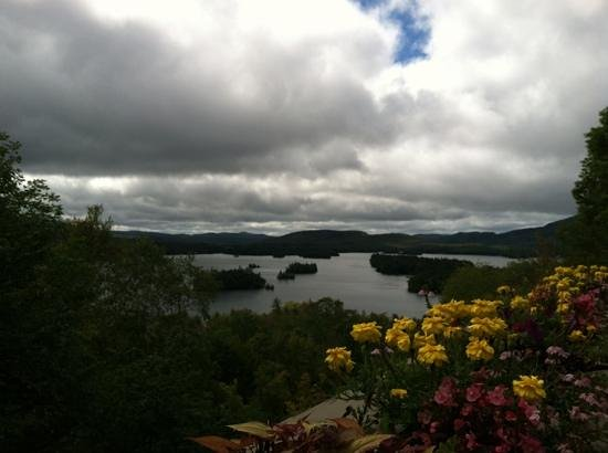Adirondack Experience, The Museum on Blue Mountain Lake: View of Blue Mt. Lake from deck at Adirondack Museum
