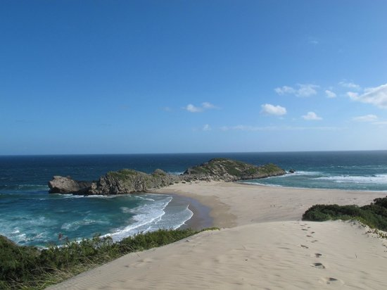 "Robberg Nature Reserve: View of ""The Island"" while descending ""Witsand"" area"
