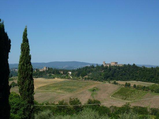 I Melograni del Chianti: la vue sur le chateau et San Gimignano