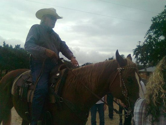 Rancho Cortez: Rancher Larry Cortez, greeting us on horseback