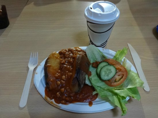 Blue Planet Aquarium: My jacket & beans with a coffee 'meal deal' (£6.80)