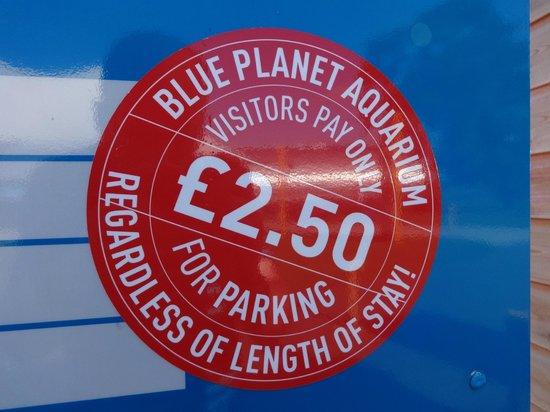 Blue Planet Aquarium: £2.50 parking charge