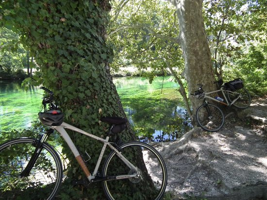 Memoires de Provence : Our bikes taking a break by the Sorgue