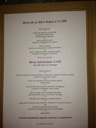 La Table Kobus: menue
