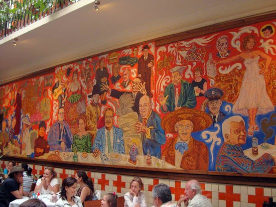 The large mural on the main wall of the restaurant for El mural restaurante puebla