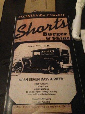 Shorts Burger & Shine: Menu