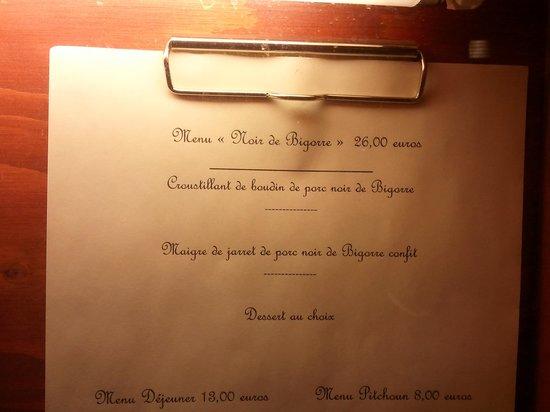La Brasserie de Bigorre : NUESTRO MENÚ