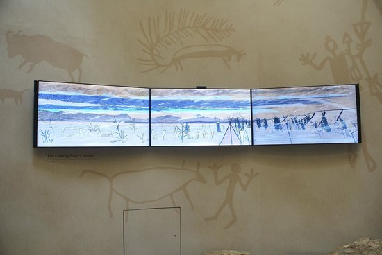 Head-Smashed-In Buffalo Jump: Screens showing beautiful animation of the story of the Plains People