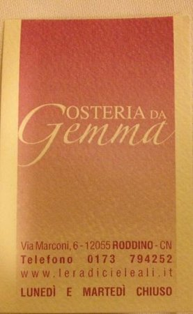 Osteria Da Gemma : business card
