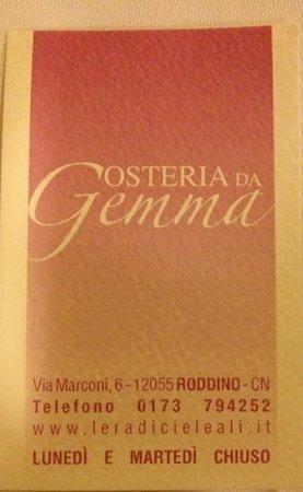 Osteria Da Gemma : business card