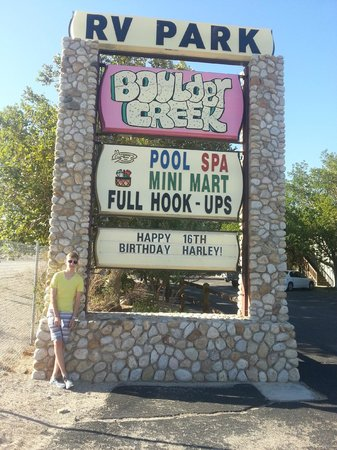 Boulder Creek RV Resort: The sign they did for my son!