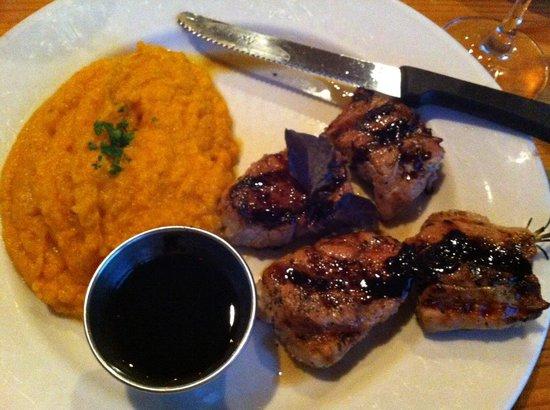 Eastside Cafe: Rosemary skewered pork tenderloin with mashed sweet potatoes.