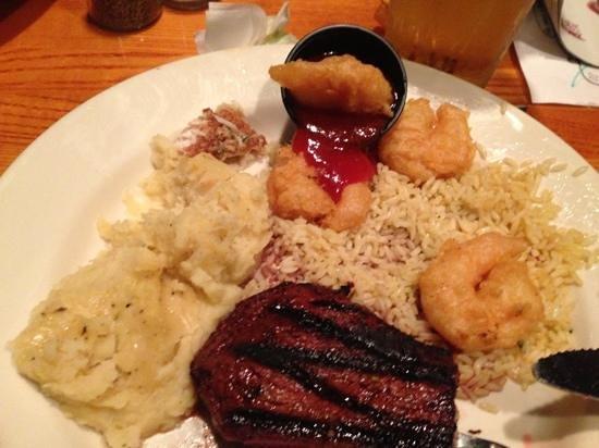 Malone's Steak & Seafood: Malone s steak and shrimp over rice?