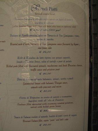 Menu picture of antica osteria da divo siena tripadvisor - Antica osteria da divo siena ...
