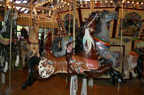 Salem's Riverfront Carousel: a bucking bronco!