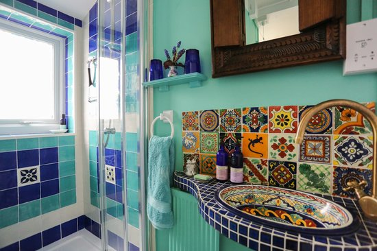 Mexican Shower Room With Talavera Tiles Ensuite Of