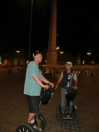 Finding Segway Rome: Riding with guide Andrew (wearing hat) on Piazza del Popolo