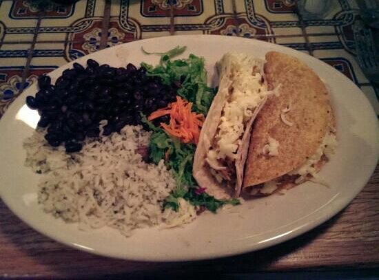 Casa Nueva : Chicken soft taco, ground beef hard shell, Jasmine rice & black beans