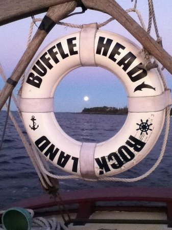 Bufflehead Sailing Charters : Full moon rise, harvest moon sunset over Owls Head Light.